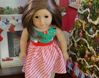18 inch Doll Clothes - Christmas Dress - Santa Stripes - RED WHITE GREEN - fits American Girl