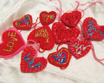 Ten hand made heart accents, felt heart accents, love for sale, geekery