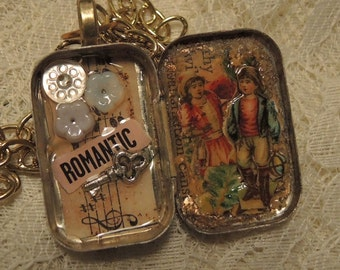 Romantic - Tiny Tin Treasure Box Necklace