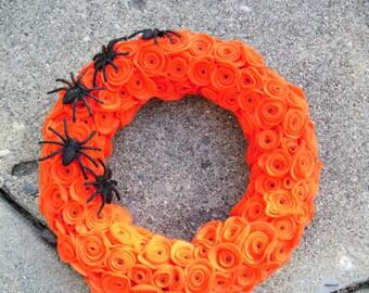 Orange Felt Flower Halloween Wreath with Spiders