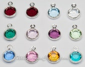 12 Swarovski Channel Crystal Dangle Charms 6mm for Expandable Bracelet and Necklaces, (07-13-220)