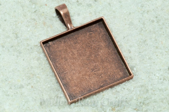 30 pcs 25mm Square Pendant Trays (1 inch) Antique Copper (19-12-220) Smooth Back, Blank Bezel Cabochon Setting