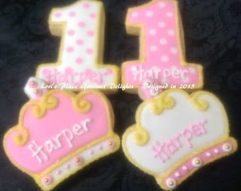 Princess 1st Birthday Cookies - 12 cookies