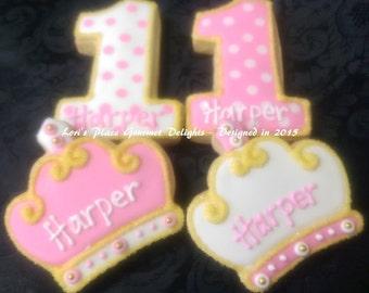 Princess 1st Birthday Cookies - 12 cookies