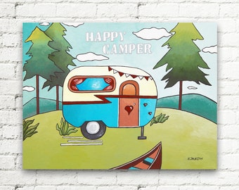 RV Decor Camper Art, Happy Camper Sign Nursery Wall Art, Vintage Camper Original Painting Travel Decor 12x16