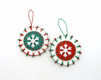 Hand Sewn Penny Rug Style Christmas Ornaments with Snowflake Buttons - Set of 2