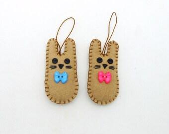 "2 Brown Bunny Wool Felt  Easter Rabbit Ornaments - 3"""