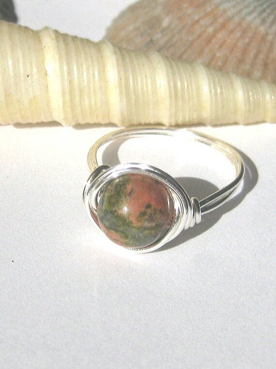 Wire wrapped ring - Unakite ring - gemstone ring - earthy jewelry - wire rings - unakite crystal - crystal jewelry - bohemian jewelry