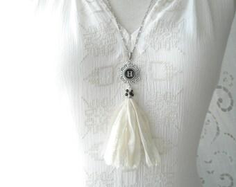 Typewriter Key Necklace. Letter H Necklace. Vintage Typewriter Key Jewelry. Long Sari Silk Tassel Boho Beaded Necklace. Eco Friendly Gift.