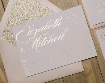 Foil  - Calligraphy Rose Gold Glitter Wedding Invitations - SAMPLE (Lauren)