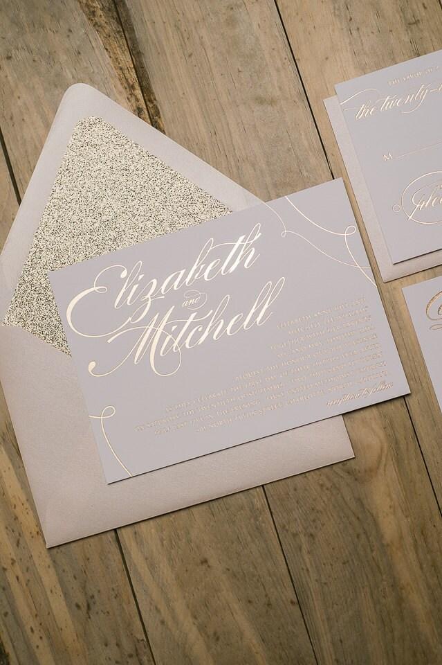 Foil Calligraphy Rose Gold Glitter Wedding Invitations