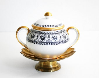 Vintage Crown Staffordshire Black Victoria Sugar Bowl from England / Vintage Black White & Gold Sugar Bowl