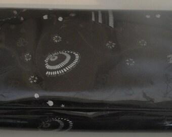 Vintage 60s Black Vinyl Clutch Purse Oriental Meets Atomic