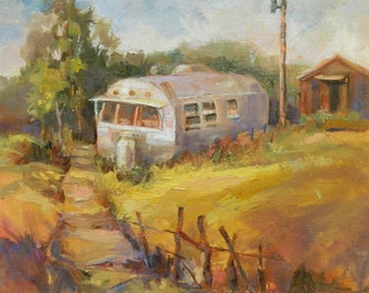 Original Oil Painting Airstream by Marty Husted