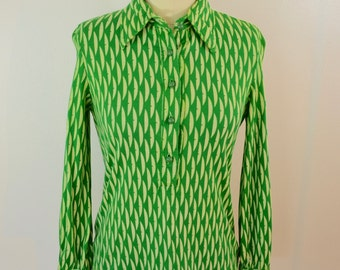 Vintage Ladies 1960's 70's SHIRT size 12 cool pattern Green and White