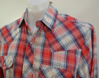 Vintage JCPENNEY 1970's long sleeve western shirt large PLAID