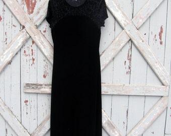 Black velvet - vintage 1990s dress M L XL