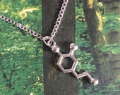 Dopamine chemical molecules silver plated charm necklace
