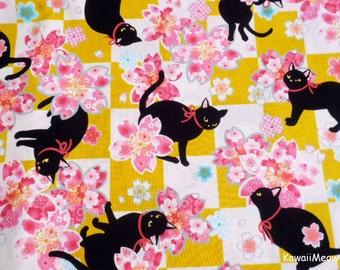 Beautiful Kimono Fabric - Black Cat Sakura on Mustard - Fat Quarter (i160610)