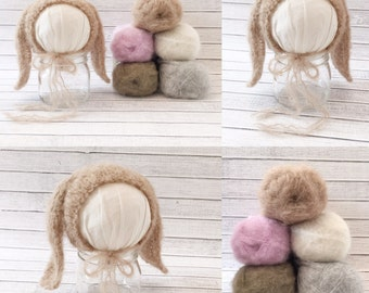BABY BUNNY is BACK...but with an even more marvelous yarn blend...fluffy alpaca mohair!!!!  Newborn Lop Ear Bunny Bonnet