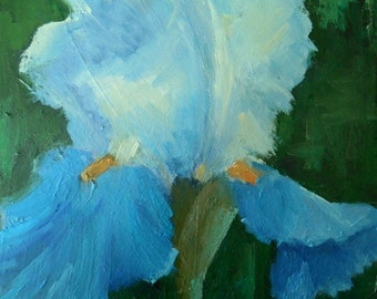 """Small Flower Painting, Iris Painting, Floral Oil Painting, 6x8"""" Floral on Canvas Panel, Free Shipping in US"""