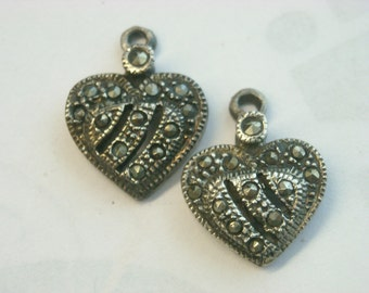 pair sterling silver marcasite findings  ( C 1 )