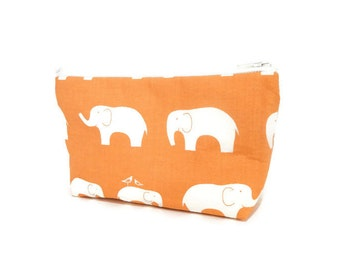 Elephant Small Pouch, Coin Purse, Change Purse, Zipper Pouch, Fabric Pouch, Gift for her, Pouch, Elephants on Pumpkin, Organic Fabric pouch