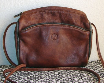 """Distressed Chestnut Brown Leather """"VALENTINA"""" Cross Body Bag"""