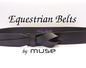 Equestrian Black Muse Leather Belt 1.5 inch  Nickel-Free / Free Shipping