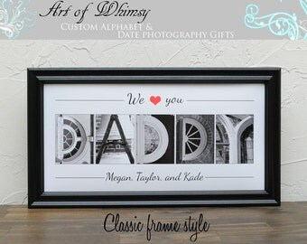 Father's Gift , Dad Gift , Father's Day , Alphabet Art Photos , Personalized Name Frame , Premium BB Black Framed,  Photo Letter Art