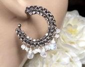 CUPID SALE Moonstone Hoop Earrings, Oxidized Silver Hoop Earrings, Moonstone Wire Wrapped Statement Earrings, Luxury Gemstone Bohemian Hoop