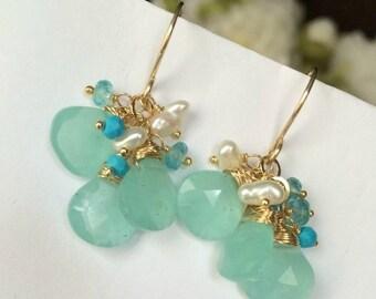 25% SALE Aqua Dangle Earrings Wire Wrapped 14kt Gold Fill Aqua Chalcedony Turquoise Earrings Summer Fashion Mint Earrings