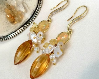 Citrine Earrings, Yellow Opal, Keishi Pearl Cluster Statement Earring November Birthstone Yellow Gemstones Ethiopian Opals Wire Wrap Cluster