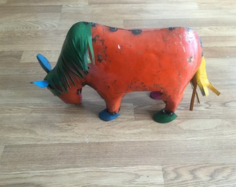 vintage inspired distressed  FUN cow  mexican art garden art