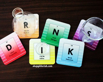 Science ROYGBIV Coasters - Chemistry, Periodic Table of Elements, Custom Chemistry, Rainbow, Geeky Barware - Hostess Gift, Teacher Gift