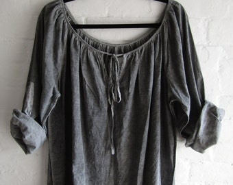 French Grey Cotton Peasant Smock Top Faded Hand Dyed Period Style Wear Womens Work Wear Lightweight Marled Raglan Sleeve Large Boho Top