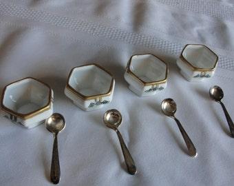 Vintage ceramic salt cellars ans sterling silver salt spoons
