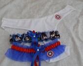 BONUS Handmade wedding garters keepsake and toss CAPTAIN AMERICA Marvel Super Hero wedding garter set with matching Captain America panties