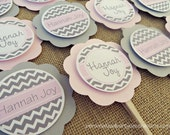 Chevron Baby Shower Decorations, Baby Shower Decorations, Baby Shower Décor, Chevron Baby Shower Cupcake Toppers, Choose The Colors