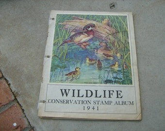 1941 national wildlife federation conservation stamps and album deer, birds,trees, ducks,fish,
