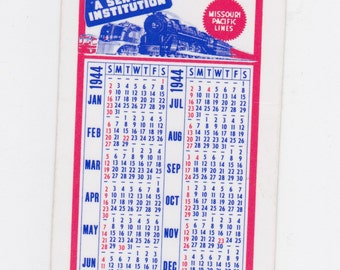 1943 Missouri pacific lines pocket railroad calender new old stock