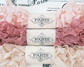 Seam Binding,Scrunched ribbon,Shabby Crinkled Ribbon,Pink,Blush,Dusty Pink,French Vintage,Scrapbooking,Crazy Quilting, Parisian Silk