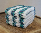 Crochet Washcloths, Dishcloths, Cotton - Cool Twist Stripe- Blue, Green, Purple 3 Piece Set