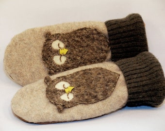 Recycled Sweater Mittens Felted Wool Cream Moss Green Brown Owl Applique Fleece Lining Leather Palm Upcycled Size S