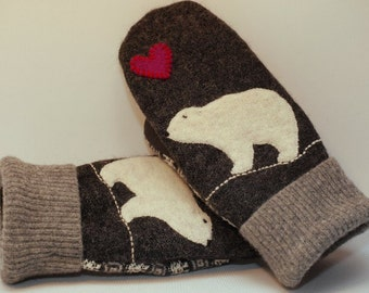 Wool Sweater Polar Bear Mittens Felted Wool  Grey and White with Applique and Leather Palm Eco Friendly Upcycled  Size M/L