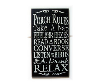 Porch Rules wood typography sign
