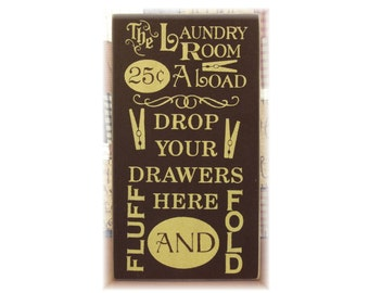 The Laundry Room typography wood sign