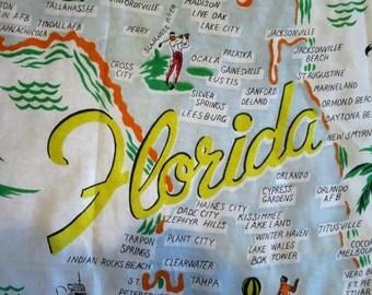 1950s Florida Souvenir Scarf