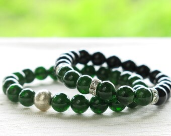 Chrome Diopside Bracelet . stacking green sterling silver bracelet jewelry
