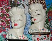 Two 1940's Glamour Girl Head Vases, Betty Grable, blue dress with pink flower, red lips, upswept hair, bombshell, vixen